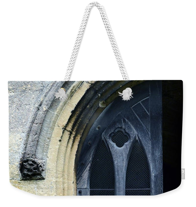 Gothic Weekender Tote Bag featuring the photograph Church Door Detail by Jill Battaglia
