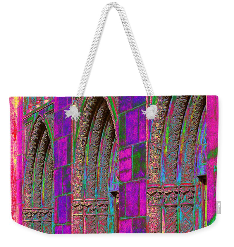 Church Weekender Tote Bag featuring the photograph Church Doors Pop Art by Phyllis Denton