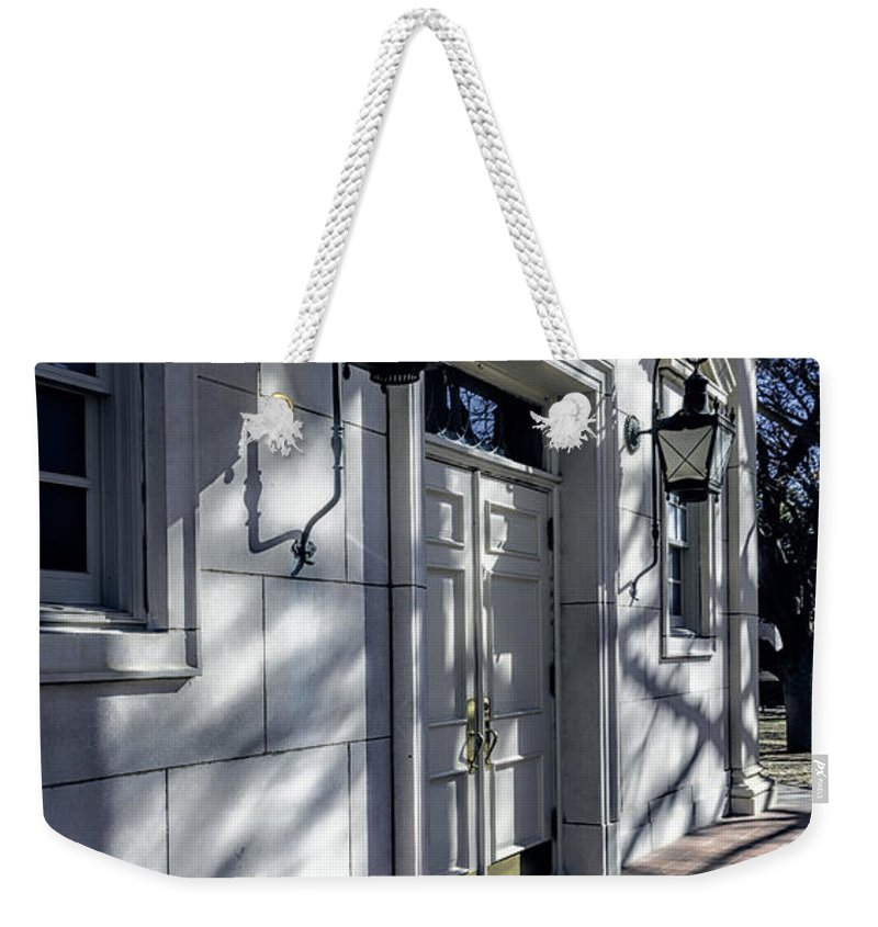 Joan Carroll Weekender Tote Bag featuring the photograph Church Doorway by Joan Carroll