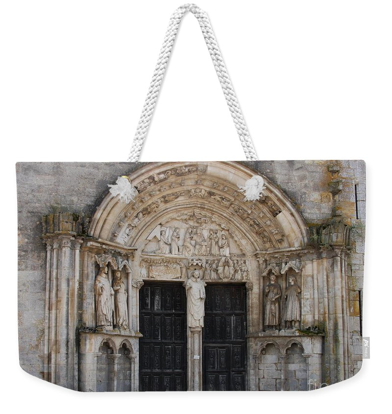 Church Weekender Tote Bag featuring the photograph Church Entrance - St Thibault by Christiane Schulze Art And Photography