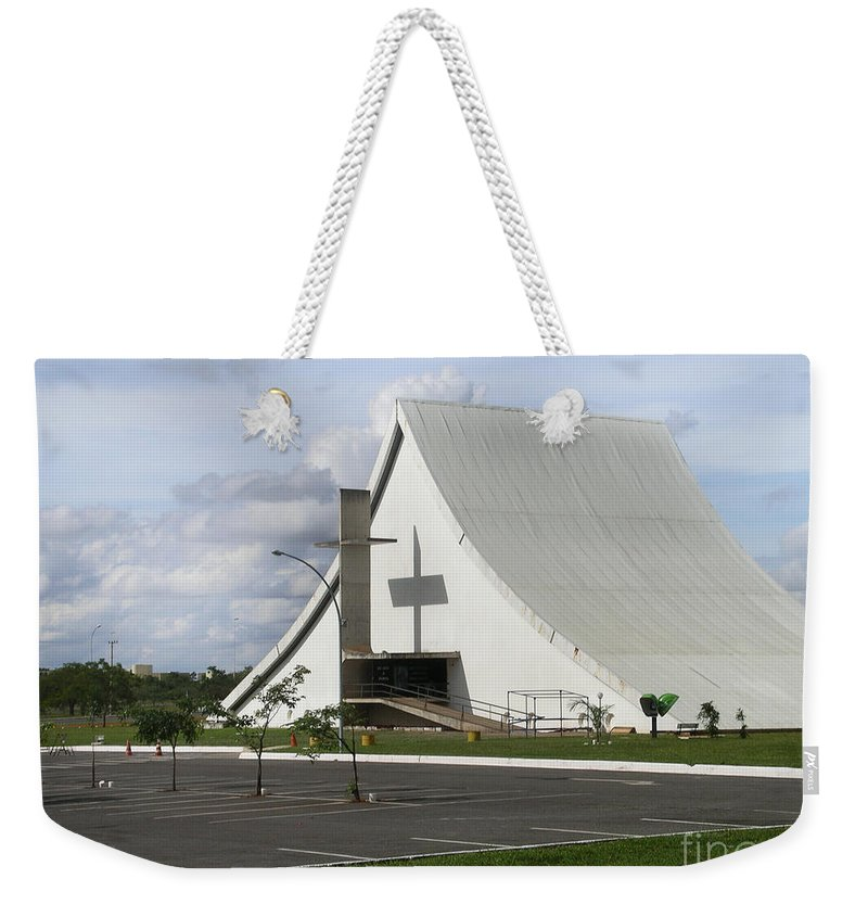 Brazil Weekender Tote Bag featuring the digital art Church In Brazilia by Carol Ailles