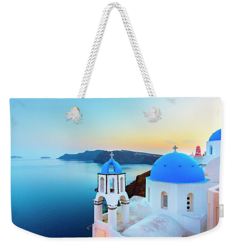 Archipelago Weekender Tote Bag featuring the photograph Church In Oia On Santorini Island by Spooh