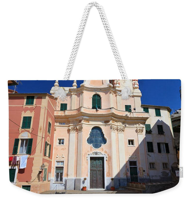 Ancient Weekender Tote Bag featuring the photograph church in Sori. Italy by Antonio Scarpi