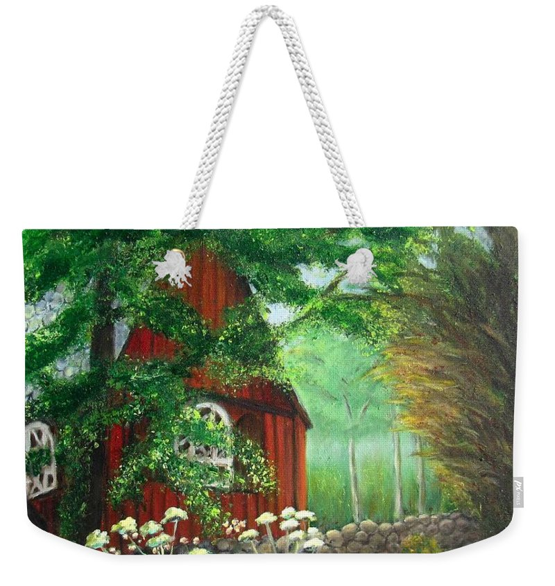 Church Weekender Tote Bag featuring the painting Church In The Glen by Laurie Morgan