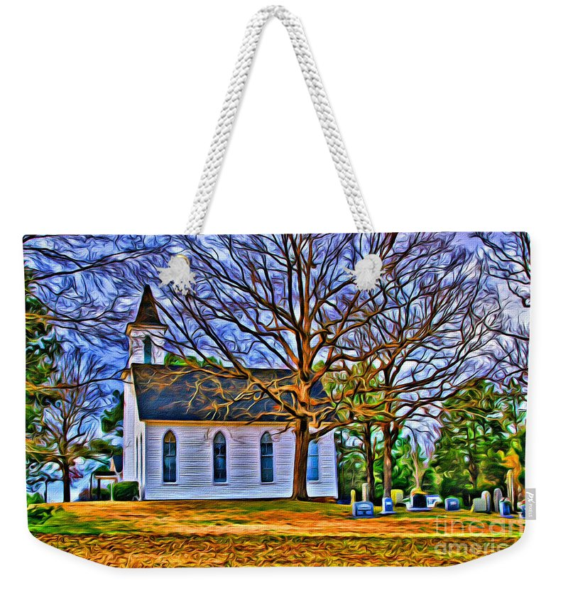 Church Weekender Tote Bag featuring the photograph Church In The Wildwood - Paint by Scott Hervieux