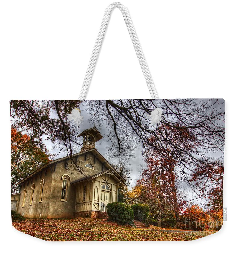 Fall Weekender Tote Bag featuring the photograph Church Of Autumn by Traci Law