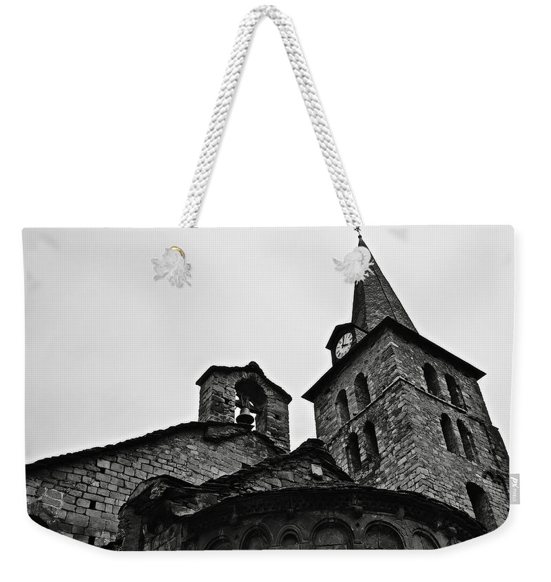 Abse Weekender Tote Bag featuring the photograph Church Of The Assumption Of Mary In Bossost - Abse And Tower Bw by RicardMN Photography