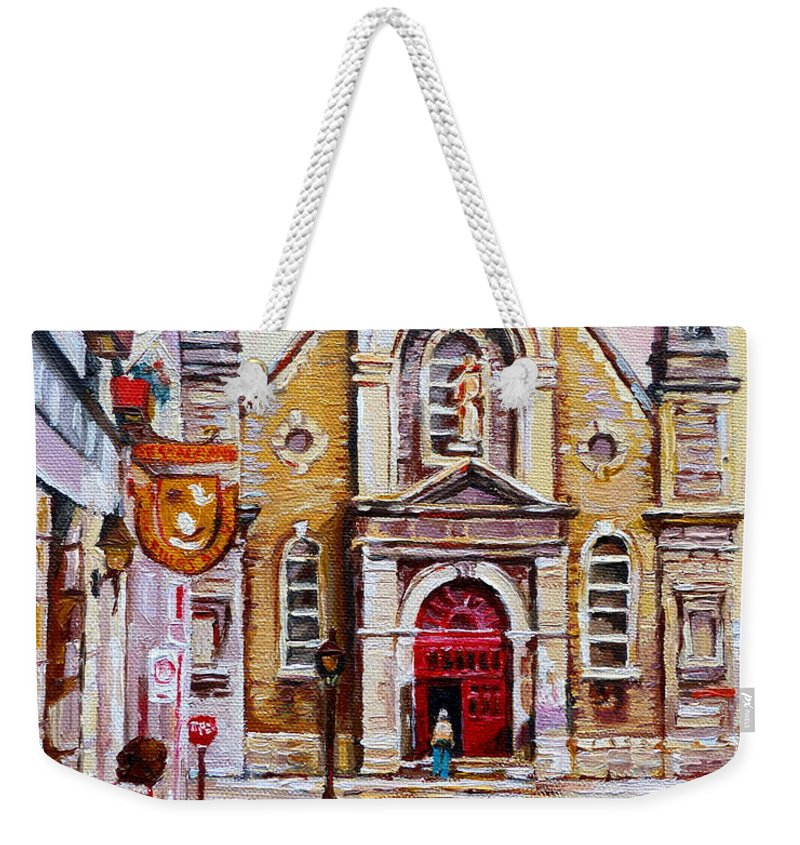 Montreal Churches Weekender Tote Bag featuring the painting Church On Sunday by Carole Spandau