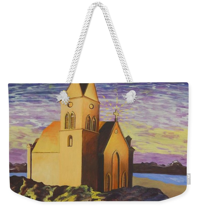 Church Weekender Tote Bag featuring the painting Church On The Rocks. by Caroline Street