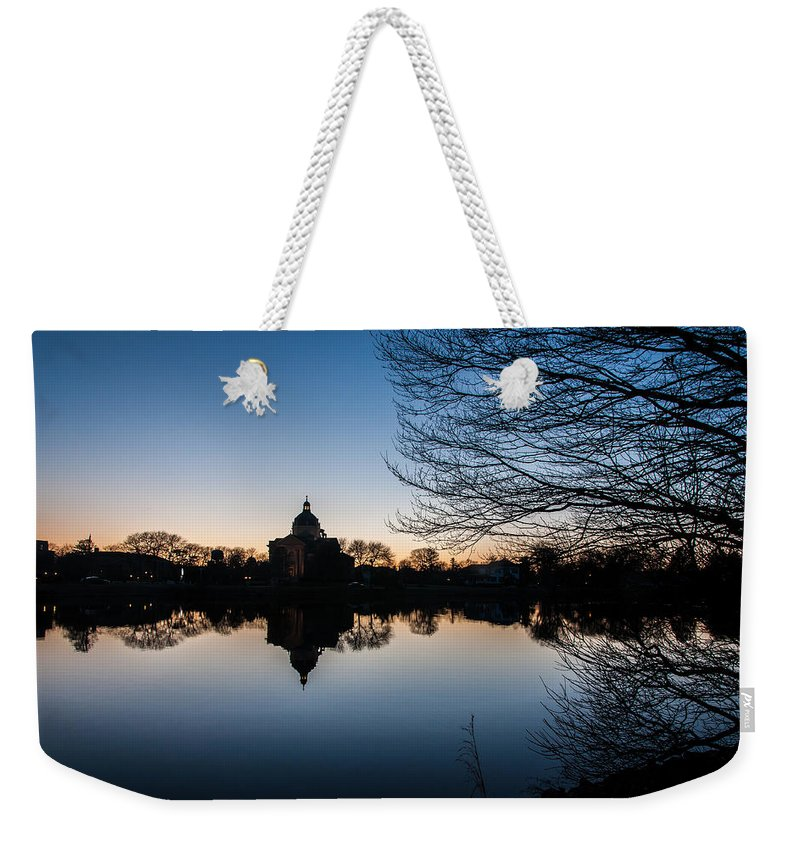 New Jersey Weekender Tote Bag featuring the photograph Church Reflect by Kristopher Schoenleber