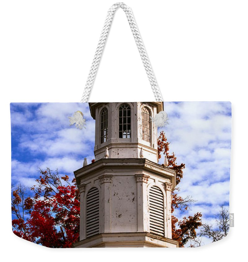 Old Church Steeple In Autumn Weekender Tote Bag featuring the photograph Church Steeple In Autumn Blue Sky Clouds Fine Art Prints As Gift For The Holidays by Jerry Cowart