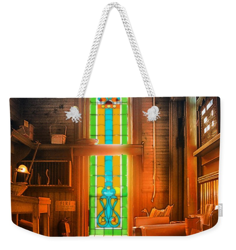 Stained Glass Weekender Tote Bag featuring the photograph Church Vestibule by Thomas Woolworth