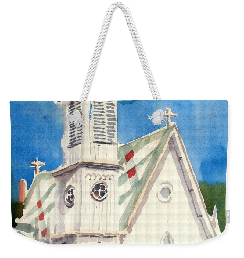 Church Weekender Tote Bag featuring the painting Church With Jet Contrail by Kip DeVore