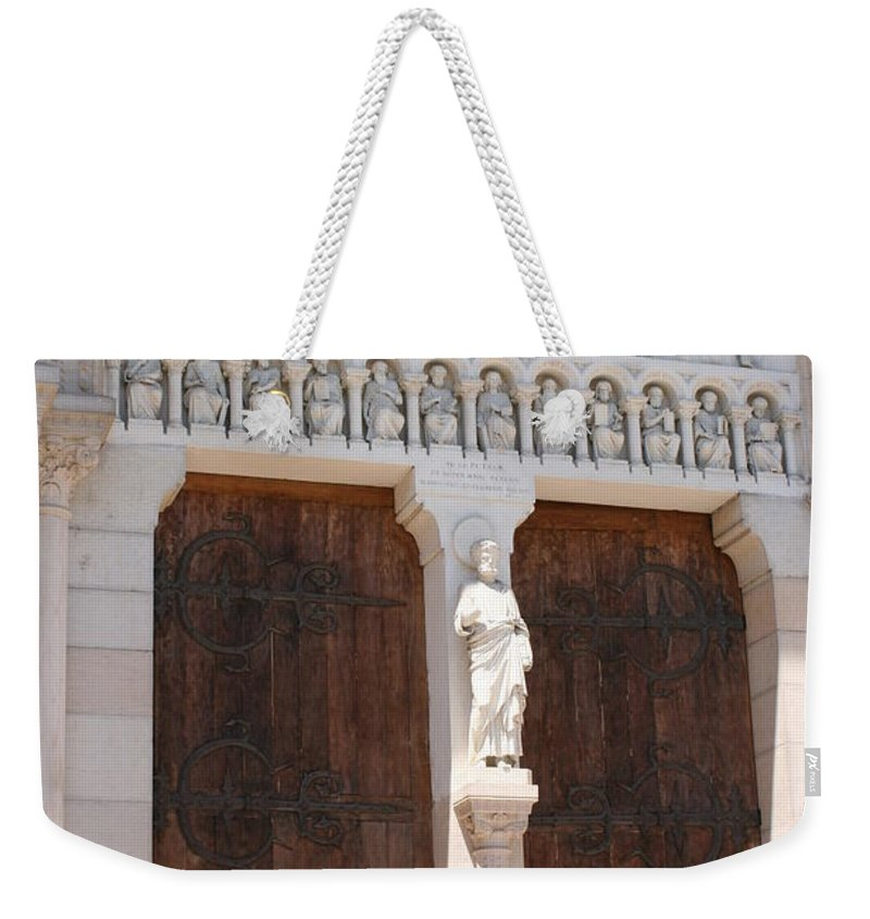Church Weekender Tote Bag featuring the photograph Churchdoor - Saint Peter - Macon by Christiane Schulze Art And Photography