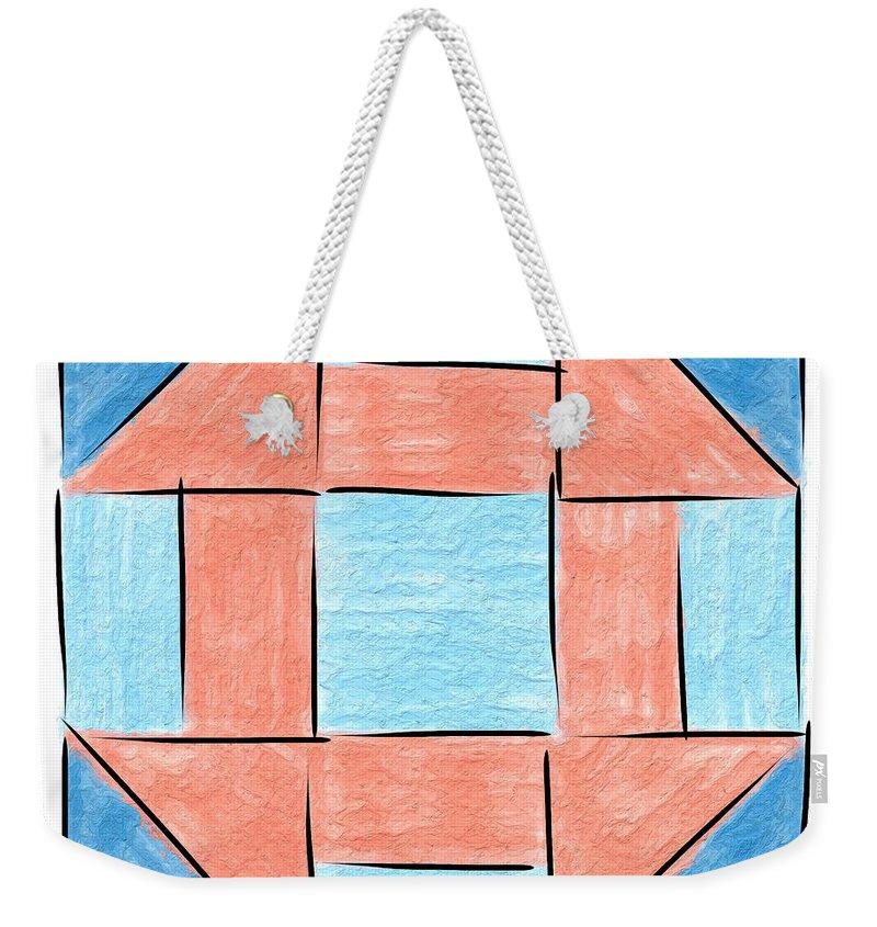 Churn Weekender Tote Bag featuring the painting Churn Dash Block by Sandy MacGowan