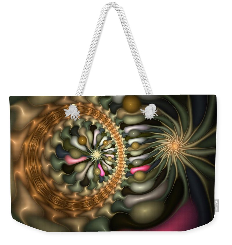 Abstract Weekender Tote Bag featuring the digital art Cicular Logic Overwhelmed by Casey Kotas