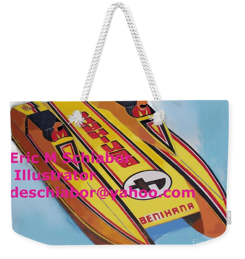 Power Boat Weekender Tote Bag featuring the painting Cigarett Power Boat Illustration by Eric Schiabor