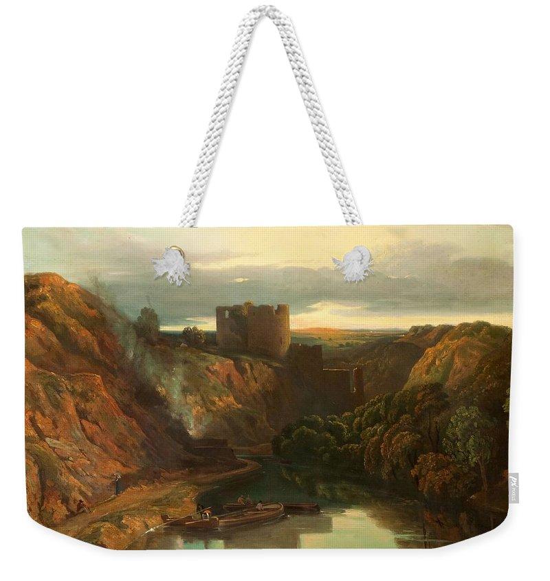 Pembrokshire Weekender Tote Bag featuring the painting Cilgerran Castle by Peter de Wint