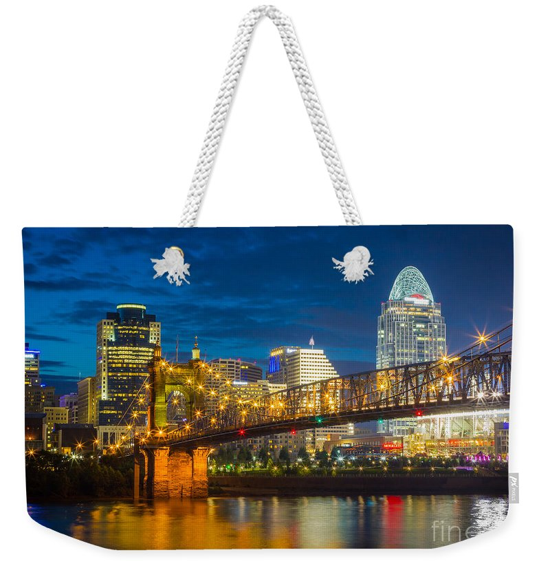 America Weekender Tote Bag featuring the photograph Cincinnati Downtown by Inge Johnsson
