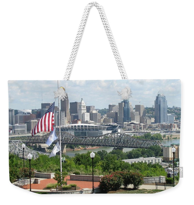Cityscape Weekender Tote Bag featuring the photograph Cincinnati Skyline by Ellen Meakin