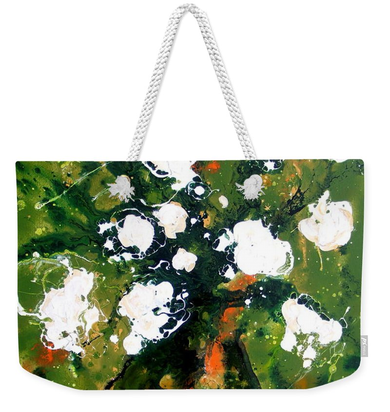 Abstract White Floral Weekender Tote Bag featuring the painting Cinnabella by Pearlie Taylor
