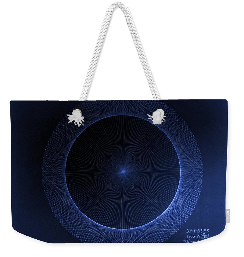 Jason Weekender Tote Bag featuring the drawing Circles Don't Exist Pi 180 by Jason Padgett