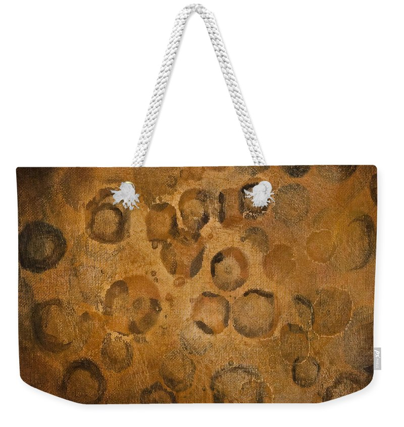 Abstract Weekender Tote Bag featuring the painting Circles Of Gold by Darice Machel McGuire