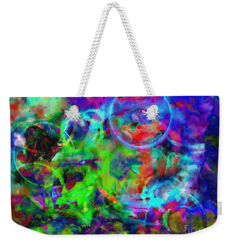 Abstract Weekender Tote Bag featuring the digital art Circles Within Circles by Meghan at FireBonnet Art