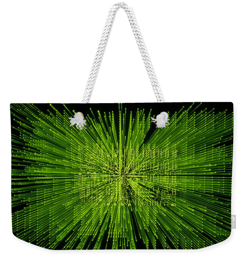 Green Weekender Tote Bag featuring the photograph Circuit Zoom by Jerry McElroy