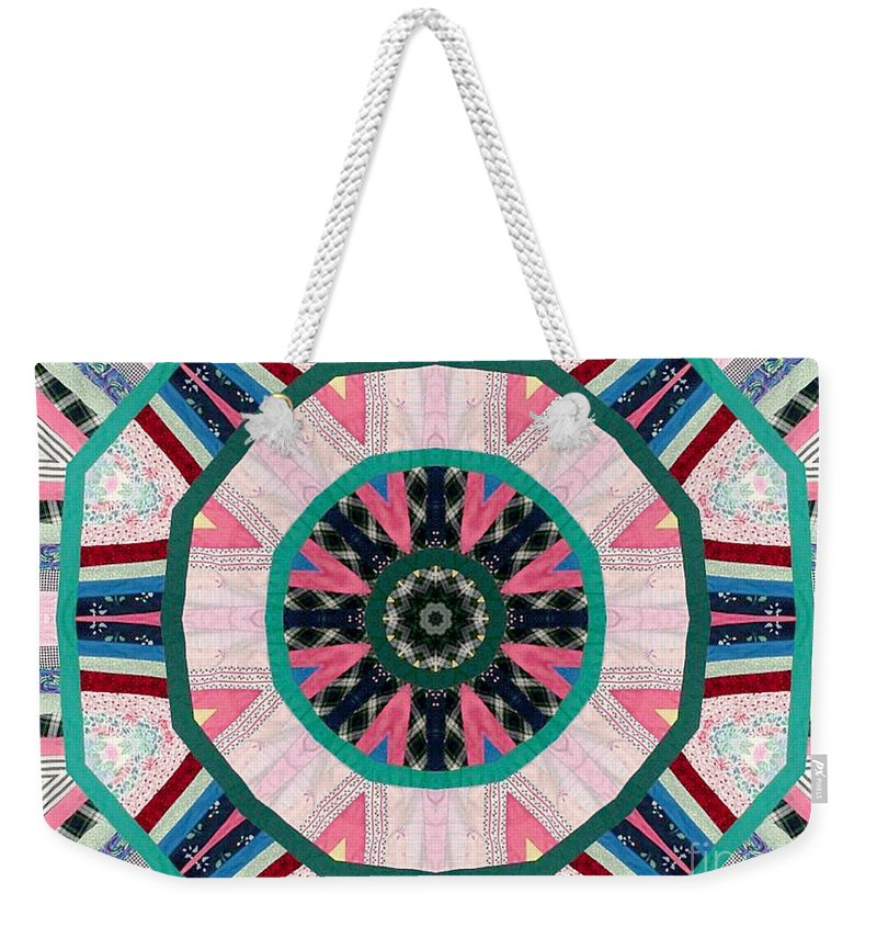 Patchwork Weekender Tote Bag featuring the photograph Circular Patchwork Art by Barbara Griffin