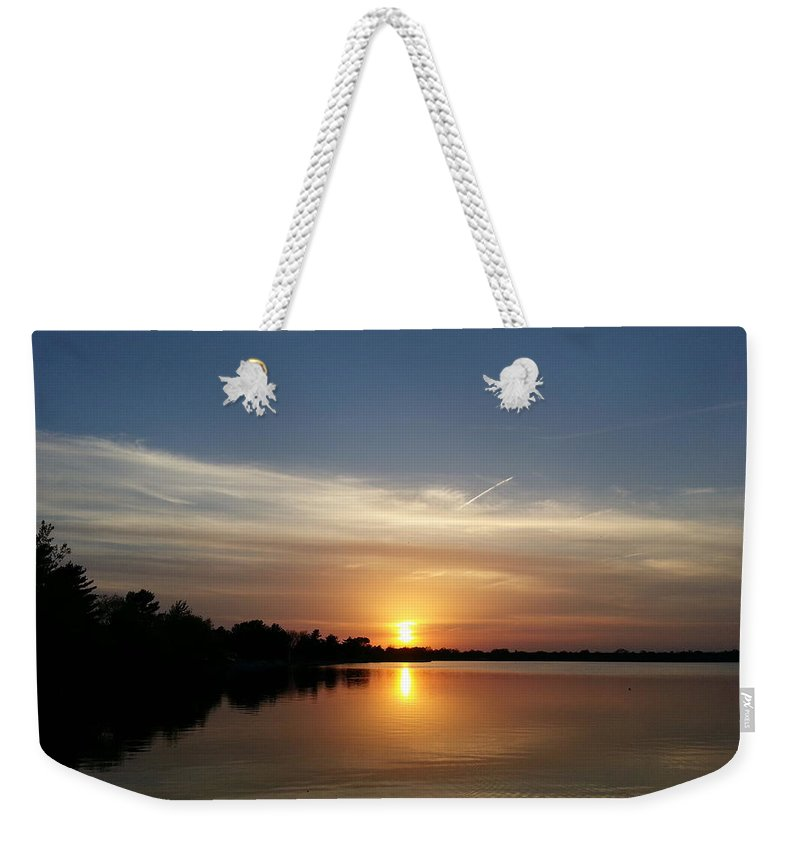 Lake Weekender Tote Bag featuring the photograph Cirrus Sunset by Caryl J Bohn