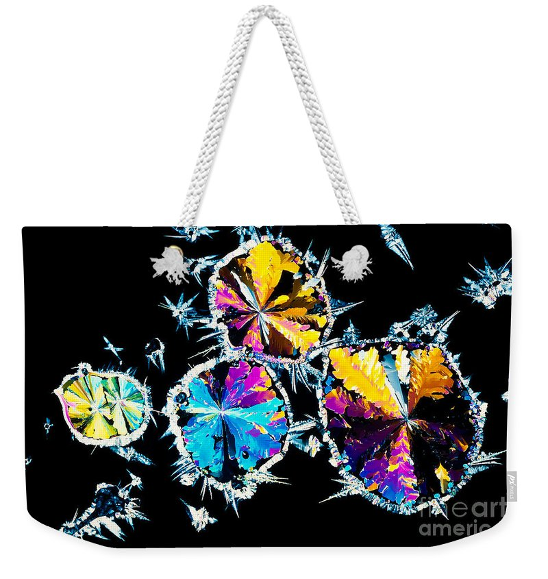 Abstract Weekender Tote Bag featuring the photograph Citric Acid Crystals In Polarized Light by Stephan Pietzko