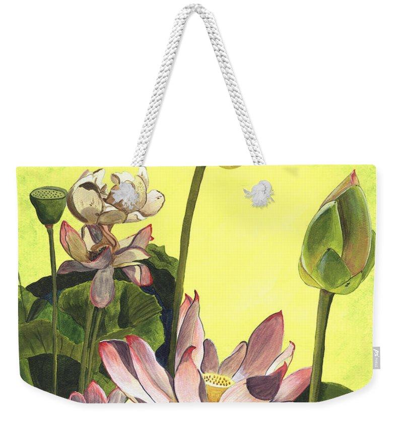 Floral Weekender Tote Bag featuring the painting Citron Lotus 1 by Debbie DeWitt