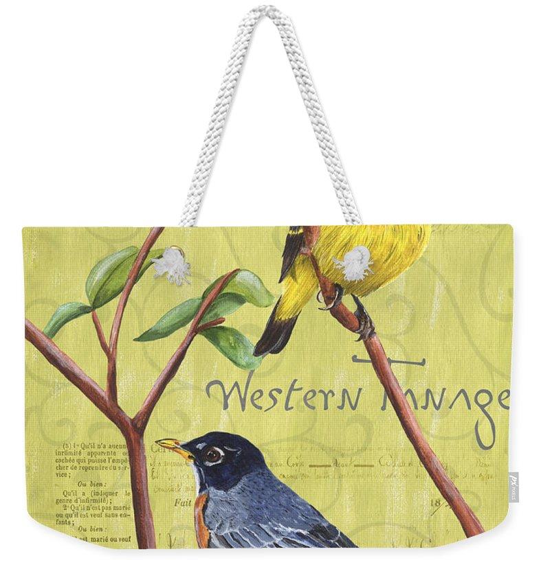 Bird Weekender Tote Bag featuring the painting Citron Songbirds 2 by Debbie DeWitt