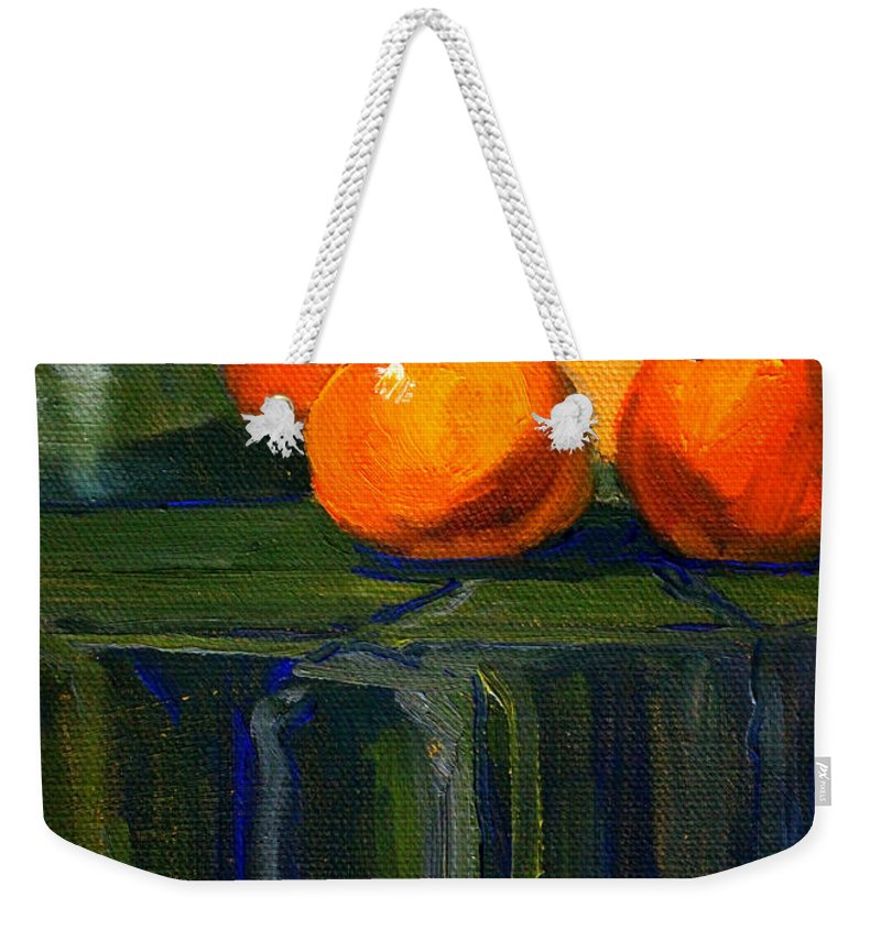 Kitchen Weekender Tote Bag featuring the painting Citrus Chrome by Nancy Merkle