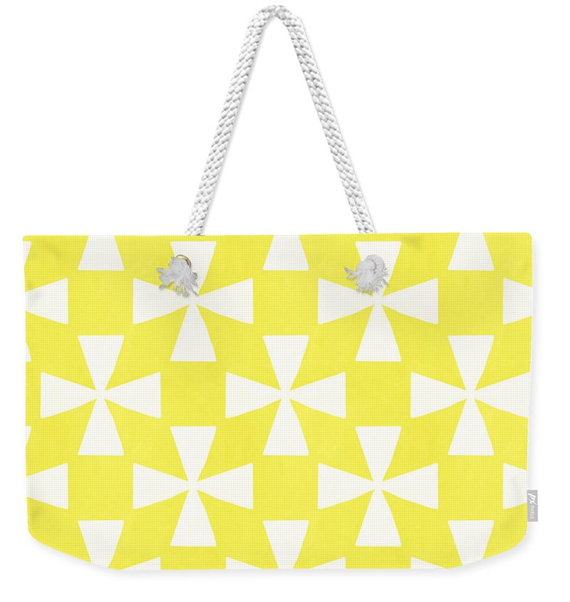 Abstract Weekender Tote Bag featuring the painting Citrus Twirl by Linda Woods