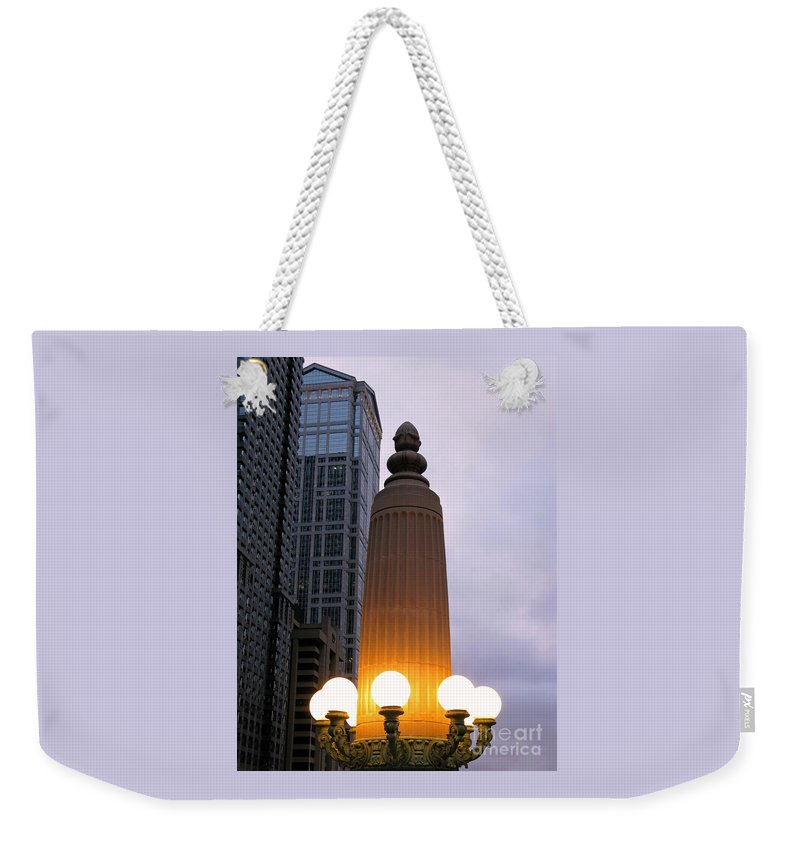 Chicago Weekender Tote Bag featuring the photograph City At Twilight by Ann Horn