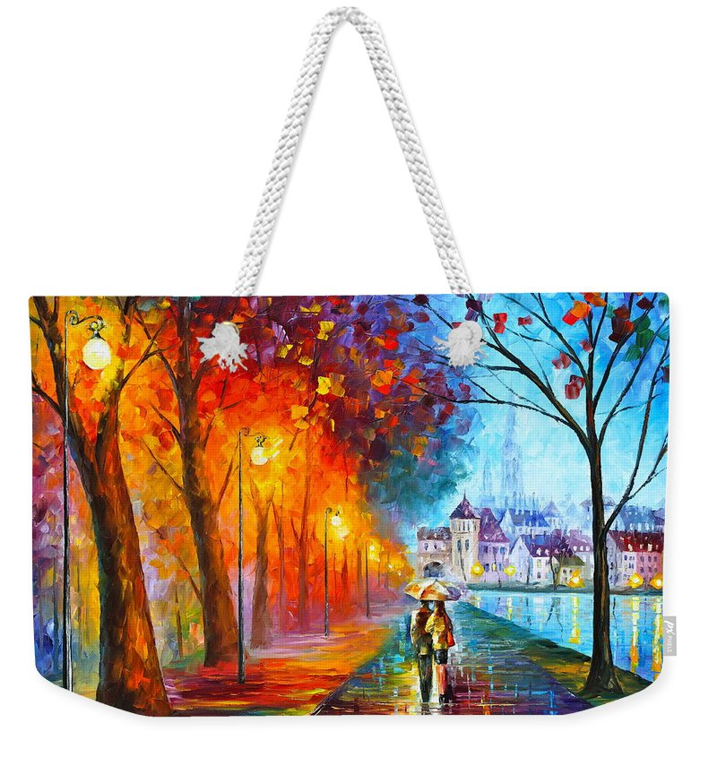 Afremov Weekender Tote Bag featuring the painting City By The Lake by Leonid Afremov