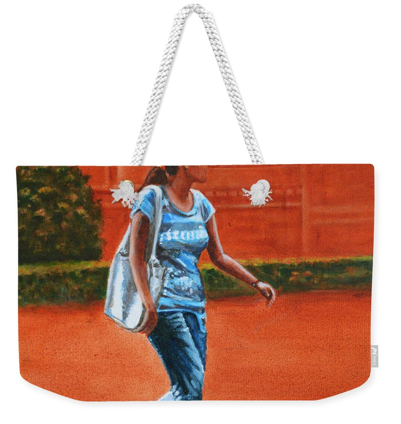 City Weekender Tote Bag featuring the painting City Girl by Usha Shantharam