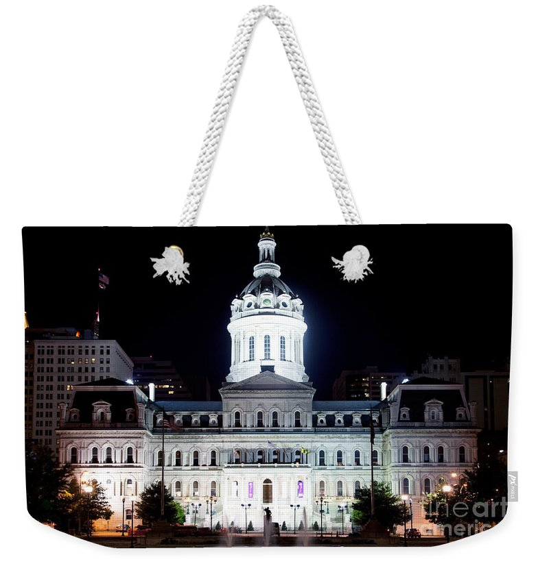 Baltimore Weekender Tote Bag featuring the photograph City Hall by Bill Cobb
