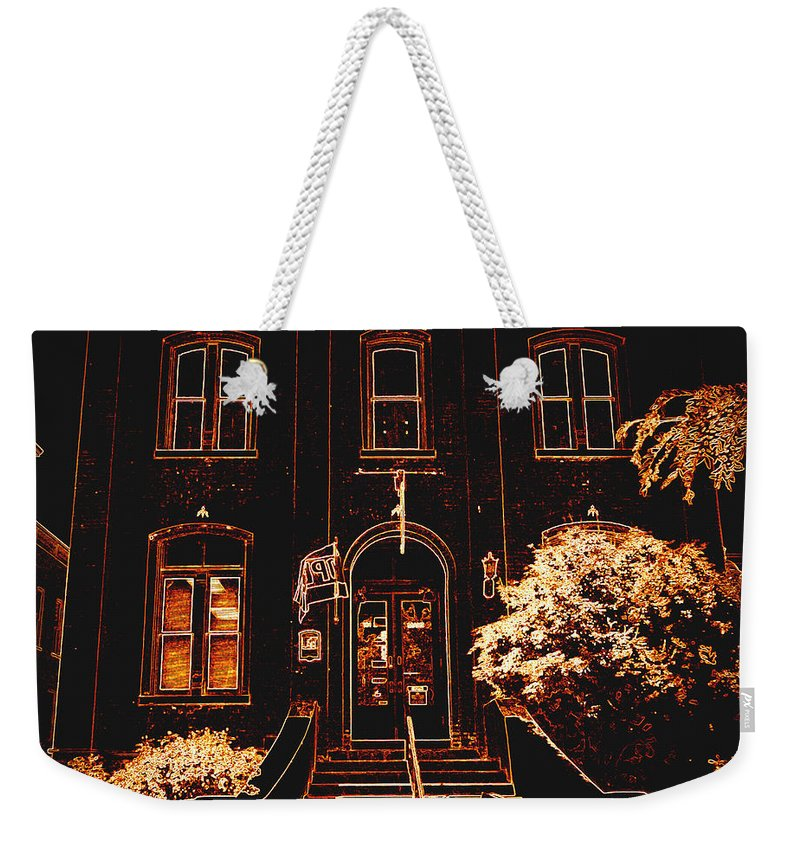 Weekender Tote Bag featuring the photograph City Hall Neon by Kelly Awad