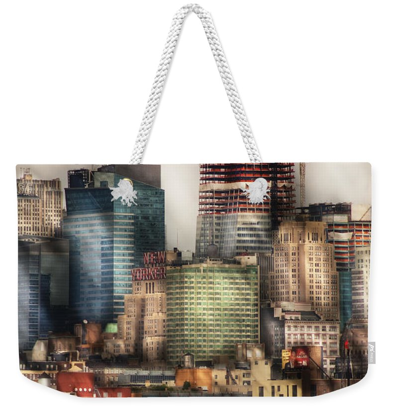 Savad Weekender Tote Bag featuring the photograph City - Hoboken Nj - New York Skyscrapers by Mike Savad