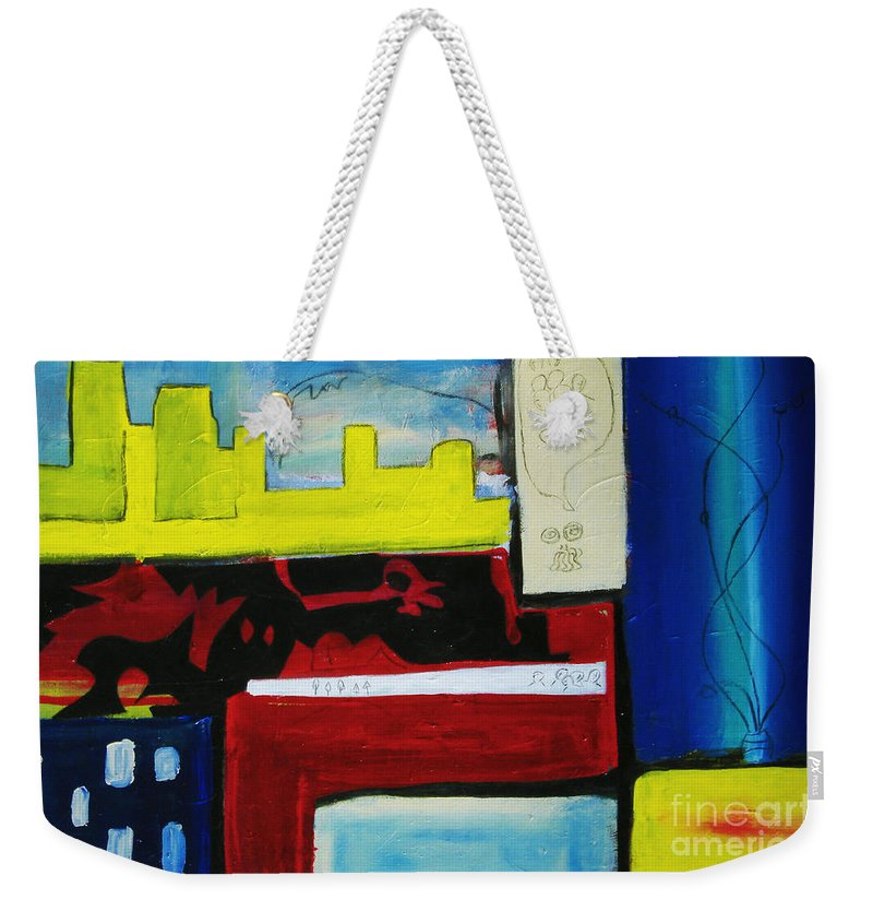 Painting Weekender Tote Bag featuring the painting City Life by Jeff Barrett