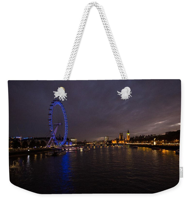 Westminster Weekender Tote Bag featuring the photograph City Lights by Dawn OConnor