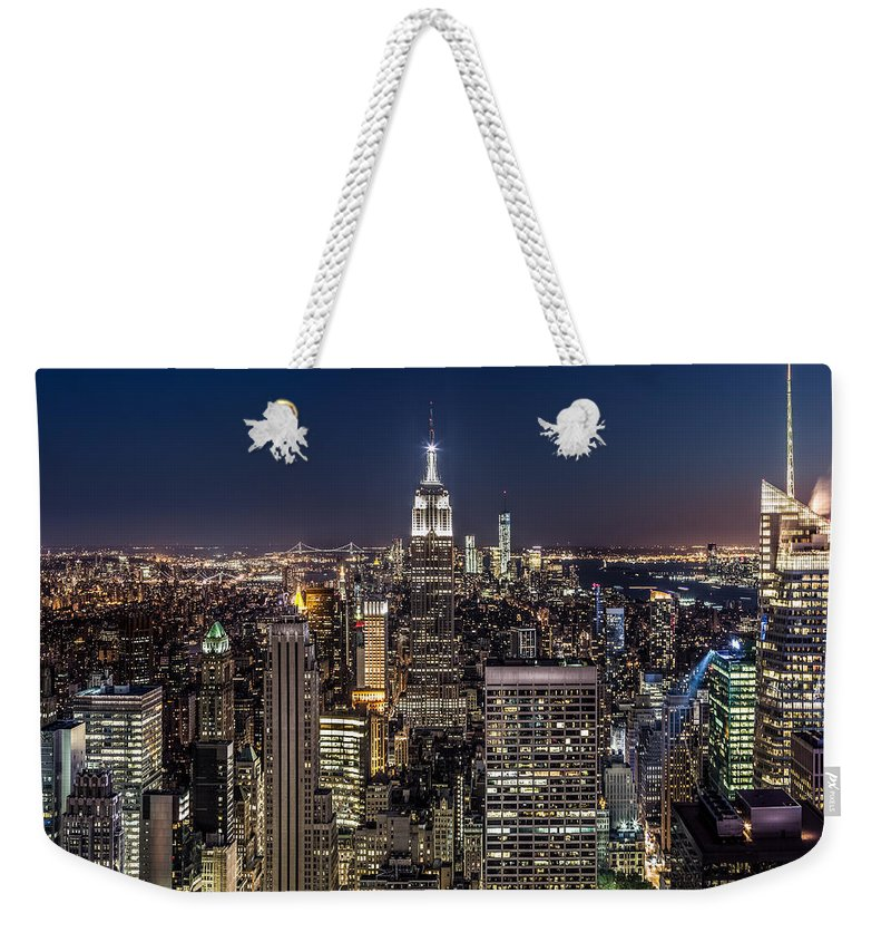 City Weekender Tote Bag featuring the photograph City Lights by Mihai Andritoiu
