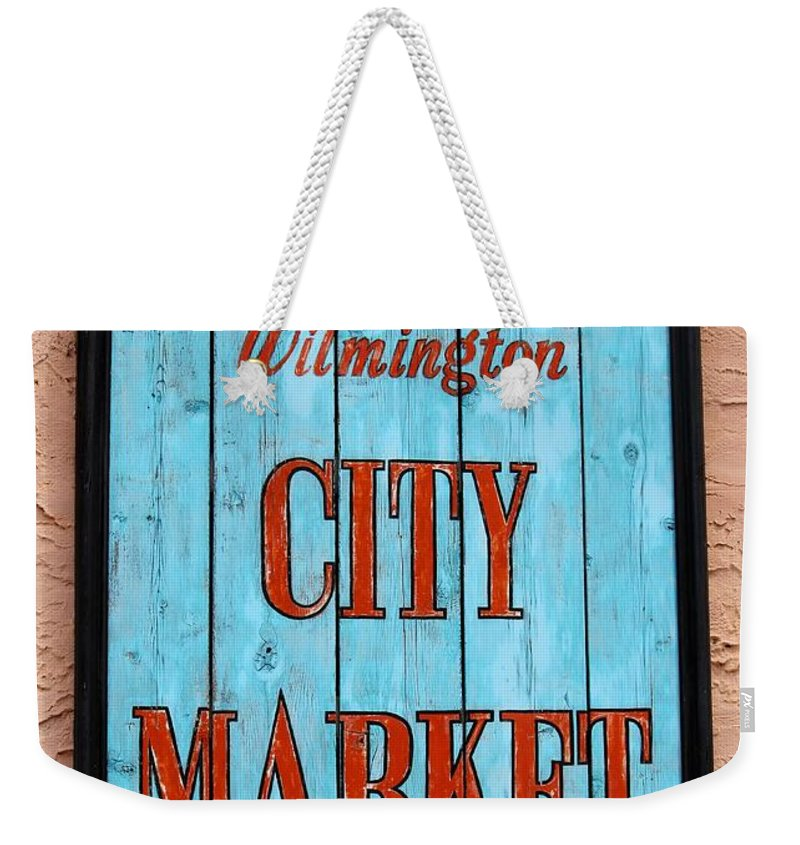 Wilmington Weekender Tote Bag featuring the photograph City Market Sign by Cynthia Guinn