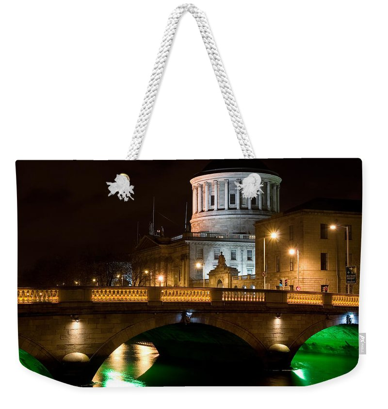 Dublin Weekender Tote Bag featuring the photograph City Of Dublin At Night In Ireland by Artur Bogacki