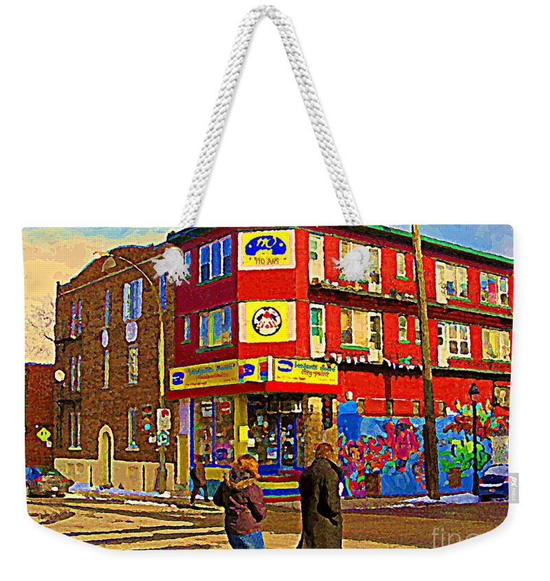 Weekender Tote Bag featuring the painting City Paint Benjamin Moore Rue Rachel And Hotel And De Ville Montreals Oldest Paint Store C Spandau by Carole Spandau