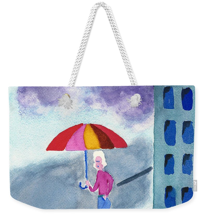 Watercolor Painting Weekender Tote Bag featuring the painting City Rain by Frank Bright