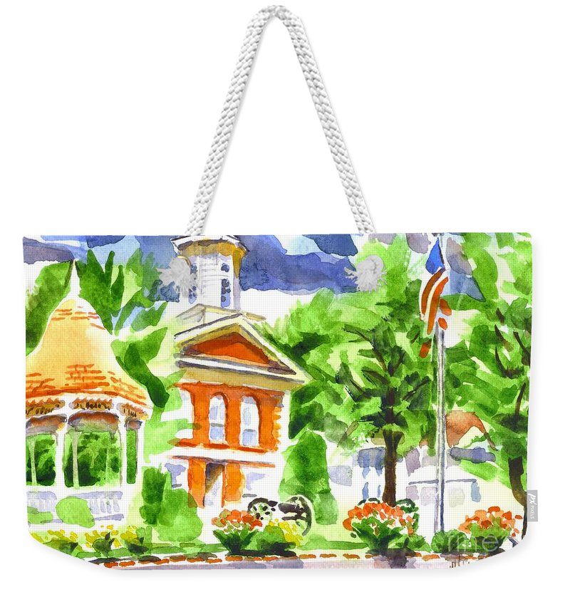 City Square In Watercolor Weekender Tote Bag featuring the painting City Square In Watercolor by Kip DeVore